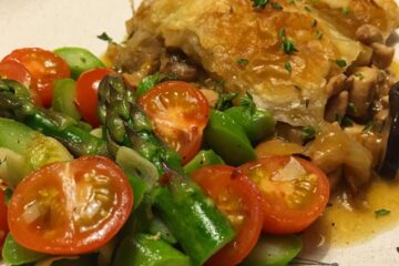 Chicken Pot Pie with Golden Puffs Herby Mixed Mushrooms Plated Close Up - Haemi YH