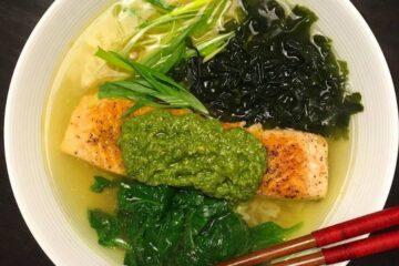 Pan Fried Salmon with Kale Pesto Instant Top Ramen